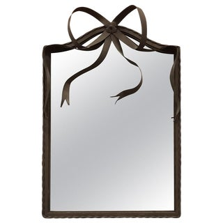 Oxidized Iron Mirror Wth Ribbon Crest For Sale