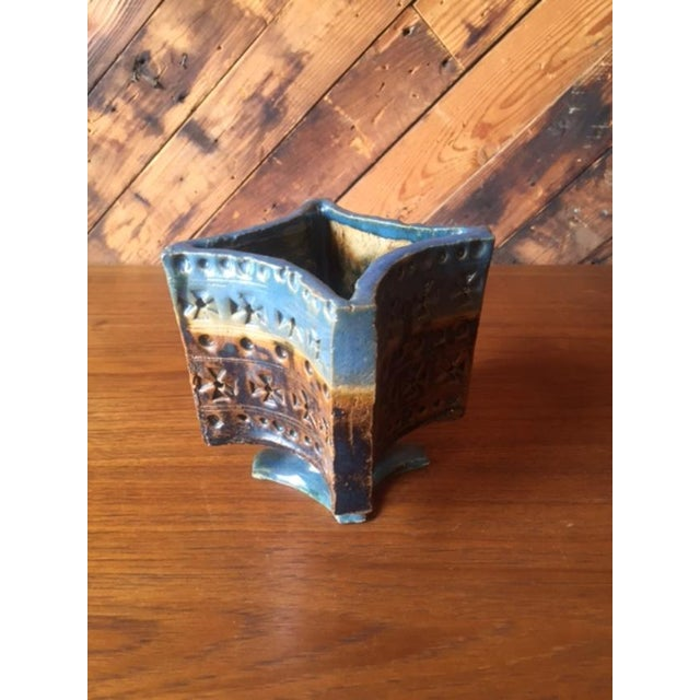 Vintage Vibrant Blue Ceramic Lidded Vase Container - Image 7 of 7