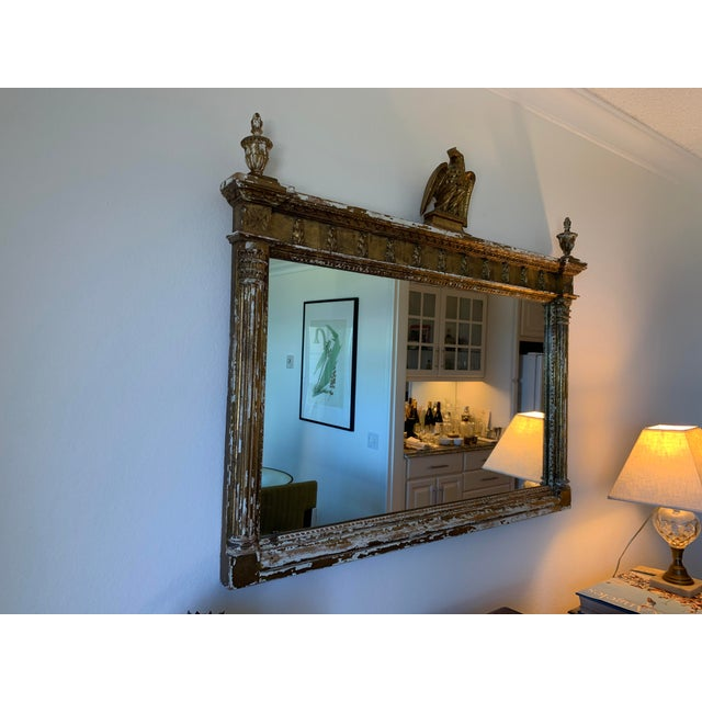 Gold Vintage 1970s Hand-Carved Gold Distressed Mirror For Sale - Image 8 of 8