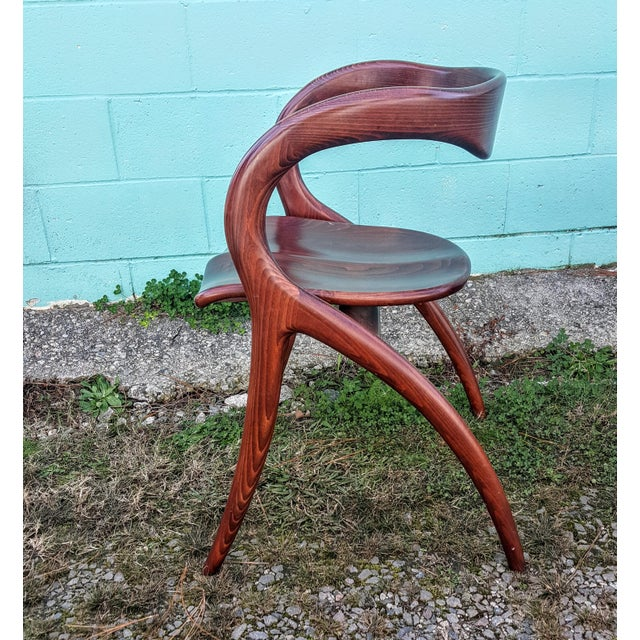 Cherry Wood Vintage Solid Curved Cherry Wood Dining Chairs - Set of 6 For Sale - Image 7 of 9