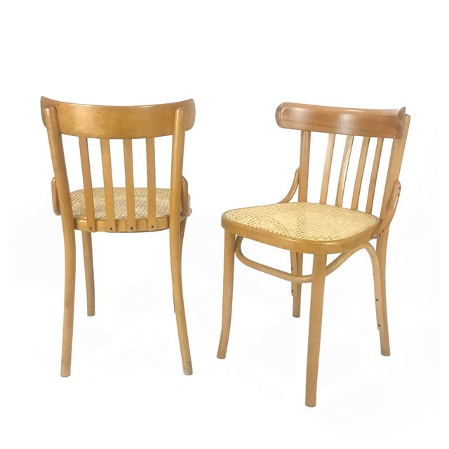 "A pair of maple bentwood & cane side chairs. Produced and imported from Romania 1950's -1960's. Stamped ""MADE IN ROMANIA""..."