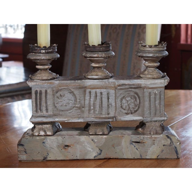 French 19th Century Italian Silver Gilt Candelabras - Pair For Sale - Image 3 of 7