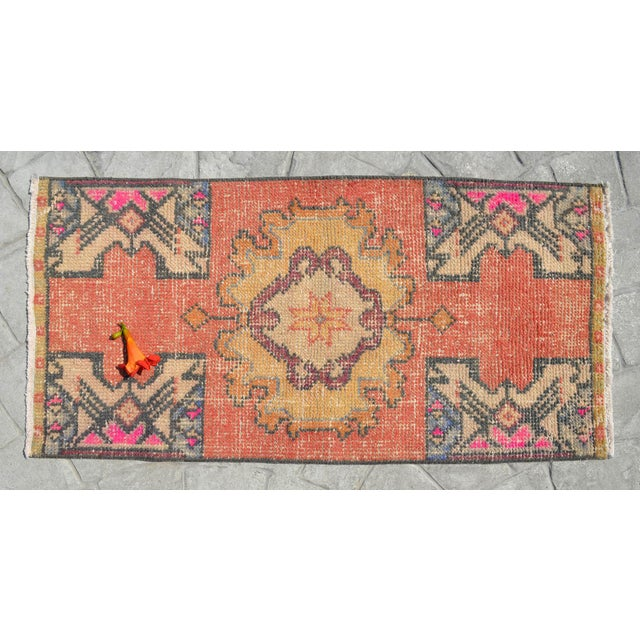 "Turkish Hand Made Oushak Rug Mat Distressed Small Rug Kitchen Mat - 1'8"" X 3' For Sale - Image 3 of 6"