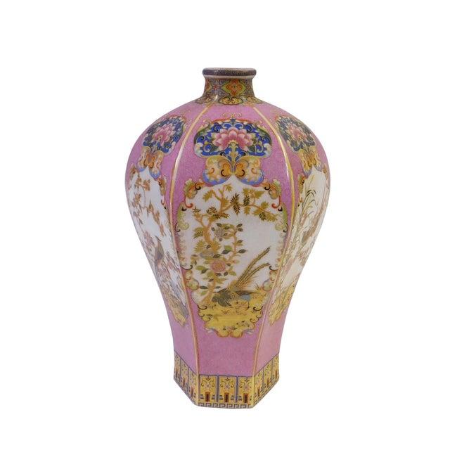 Pink Hexagonal Multi-Color Porcelain Vase - Image 2 of 6