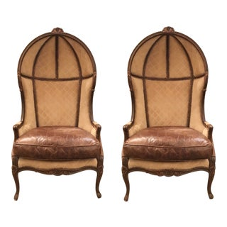French Vintage Leather and Suede Ballon Chairs Pair For Sale