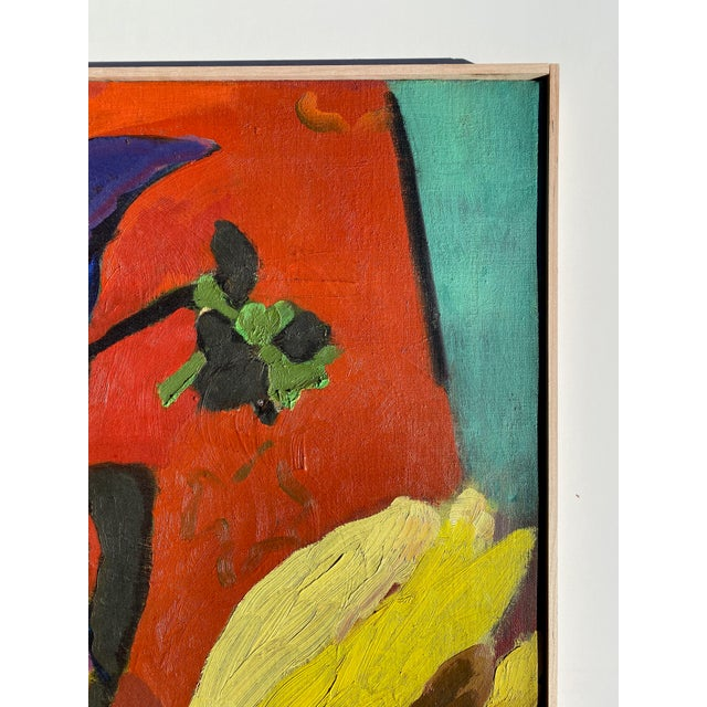 Matisse Style Mid-Century Expressionist Oil on Canvas Painting For Sale - Image 4 of 8