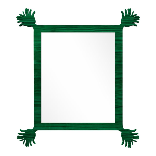 Fleur Home x Chairish Vieux Mirror in Malachite, 43x55 For Sale