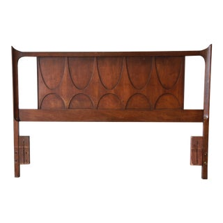 Broyhill Brasilia Mid-Century Modern Queen or Full Size Sculpted Walnut Headboard