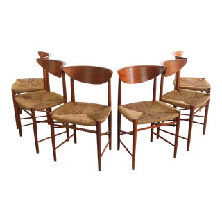 Vintage Mid Century Peter Hvidt and Orla Möllgaard Nielsen, Denmark Dining Chairs- Set of 6 For Sale