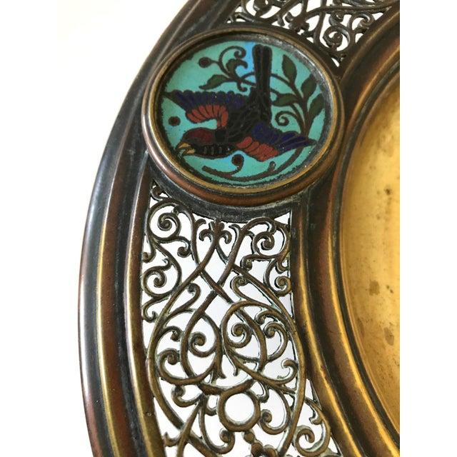Antique Persian Brass & Enamel Blue Birds Cloisonné Tazza / Centre Piece For Sale - Image 4 of 6