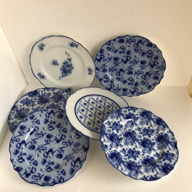 Harry & David Blue and White Rose Dishes - Set of Six For Sale - Image 10 of 10