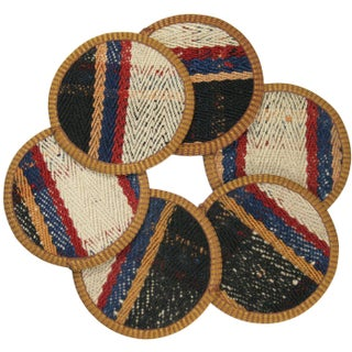 Rug & Relic Zincirli Kilim Coasters - Set of 6 For Sale