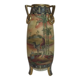 Nippon Hand Painted Vase For Sale