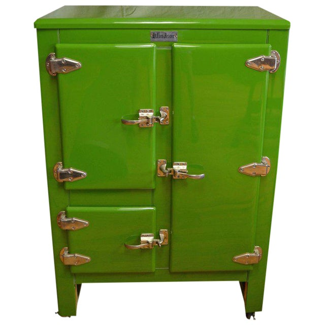 Green Ice Box Refrigerator Bar by Windsor, circa 1920s For Sale