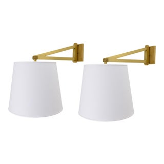 Phoenix Day Satin Brass Reed Sconce With Round Linen Shade - a Pair For Sale