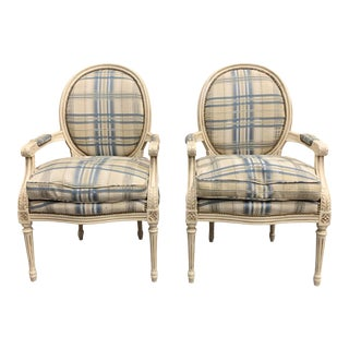 1910s Vintage French Louis XVI Carved Accent Chairs or Bergere - a Pair For Sale