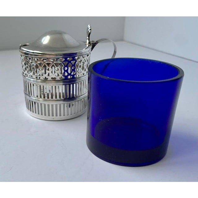 Blue Sterling Silver Mustard Pot With a Cobalt Blue Glass Liner For Sale - Image 8 of 9