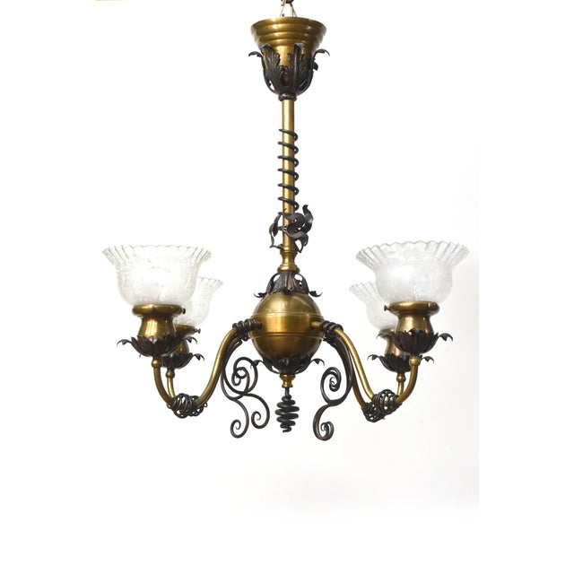 Four Light Brass and Wrought Iron Early Electric Fixture For Sale - Image 9 of 10
