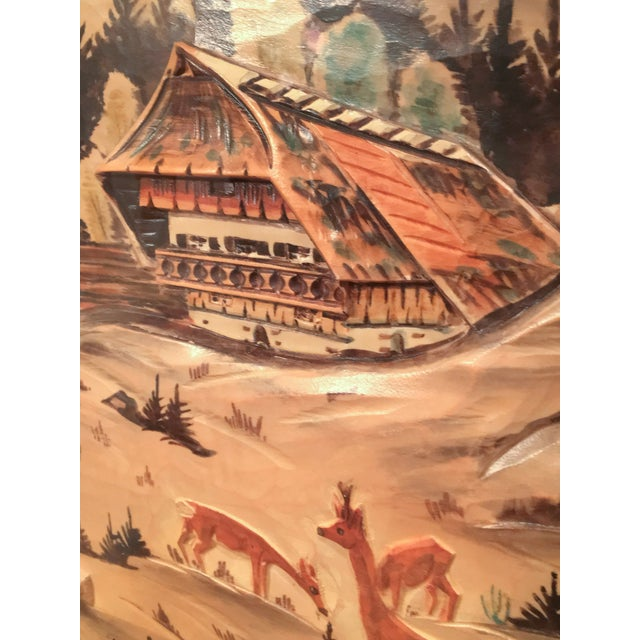 3-Piece Painted Wood Relief Mountain Diorama - Image 7 of 8
