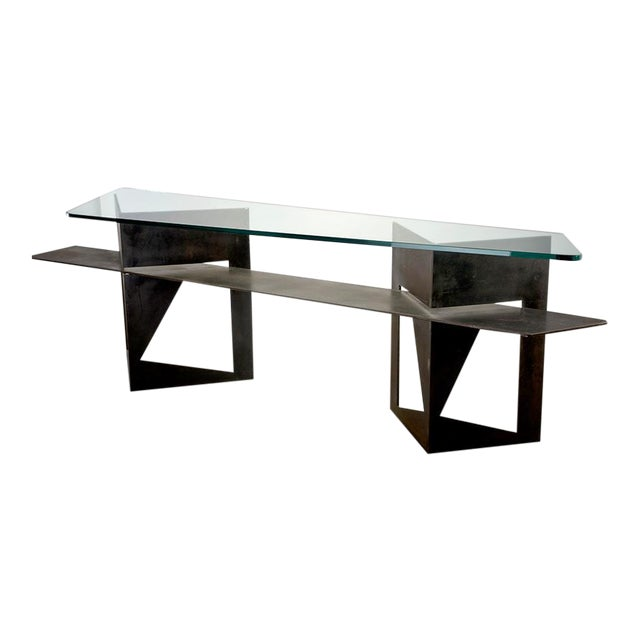 Extra Large Brutalist Console with Iron Base and Glass Top For Sale