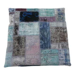 Vintage Turkish Patchwork Floor Pillow & Dog Bed 36'' x 36'' For Sale