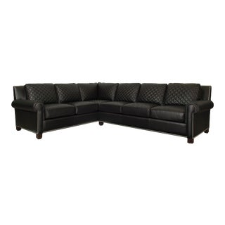Century Furniture Lyndon LAF Quilted Sofa, Black Leather For Sale