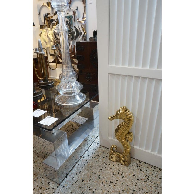 Vintage Seahorse Figure Doorstop in Polished Brass For Sale - Image 11 of 12