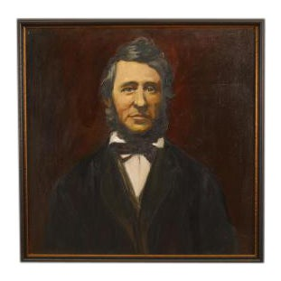 American Victorian style oil painting of Henry David Thoreau in a dark stained frame (part of a series of American 19th Cent writers) (© Troubetzkoy P