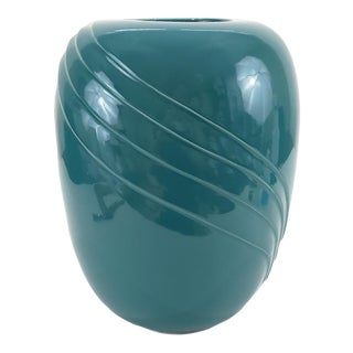 1980s American Postmodern Teal Green Pottery Vase For Sale
