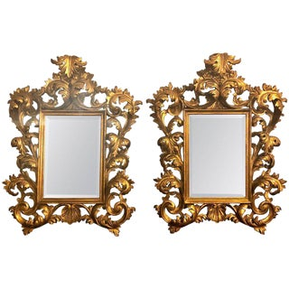 Pair of 19th-20th Century Carved Italian Florentine Wall or Table Mirrors For Sale