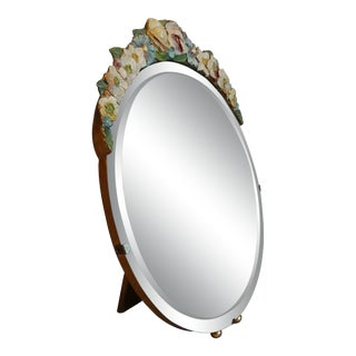 Early English Large Barbola Mirror Table Top Vanity For Sale