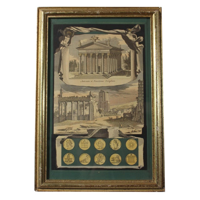 Early 19th Century Early 1800s Antique Italian Neoclassical Hand Colored Roman Temple & Ruins Engravings in Gilt Wood Frames - a Pair For Sale - Image 5 of 8