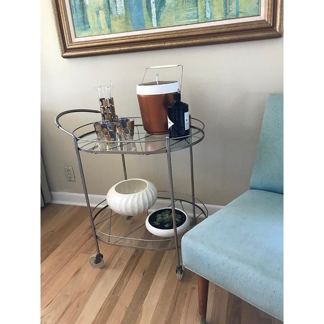 Silver Mid Century Vintage Two-Tier Oval Rolling Bar Cart For Sale - Image 8 of 9