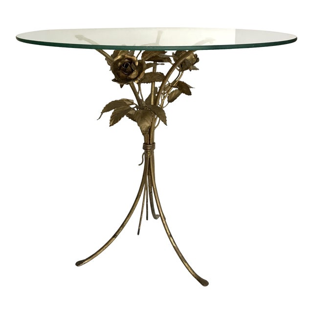 Vintage Gilded Floral and Glass Table - Image 1 of 3