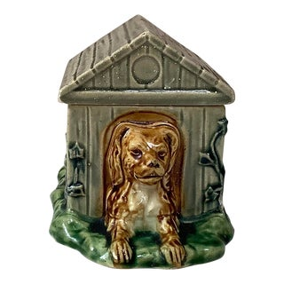 1880 French Majolica Dog in Kennel Box For Sale