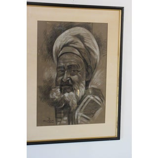 1950s Vintage Signed Charcoal Male Portrait Drawing Preview