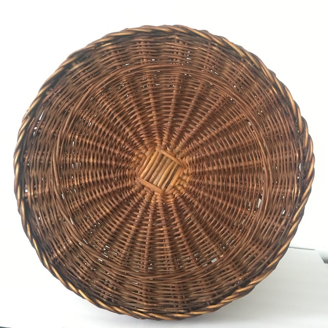 Brown Vintage Bielecky Brothers Boho Rattan Round Coffee / Side Table For Sale - Image 8 of 13