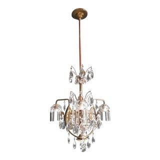 Art Nouveau Crystal Chandelier Lustre Ceiling Lamp Rarity Pendant Light For Sale