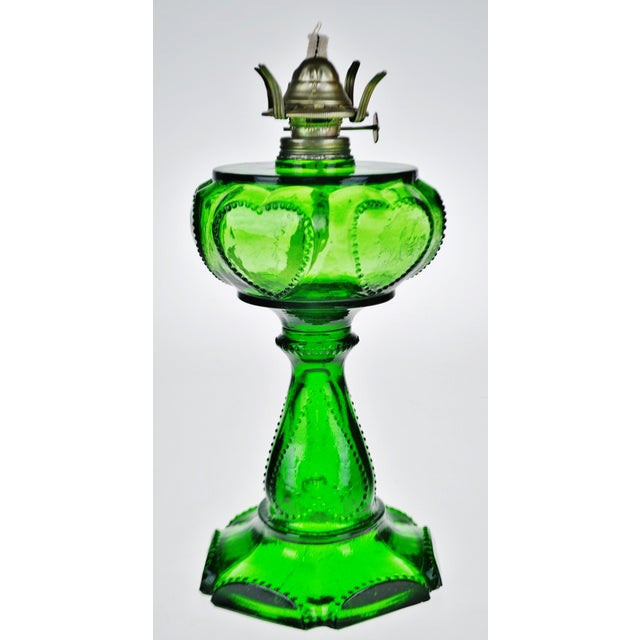 Vintage Emerald Green Glass Oil Lamp W/ Heart Design For Sale - Image 12 of 12
