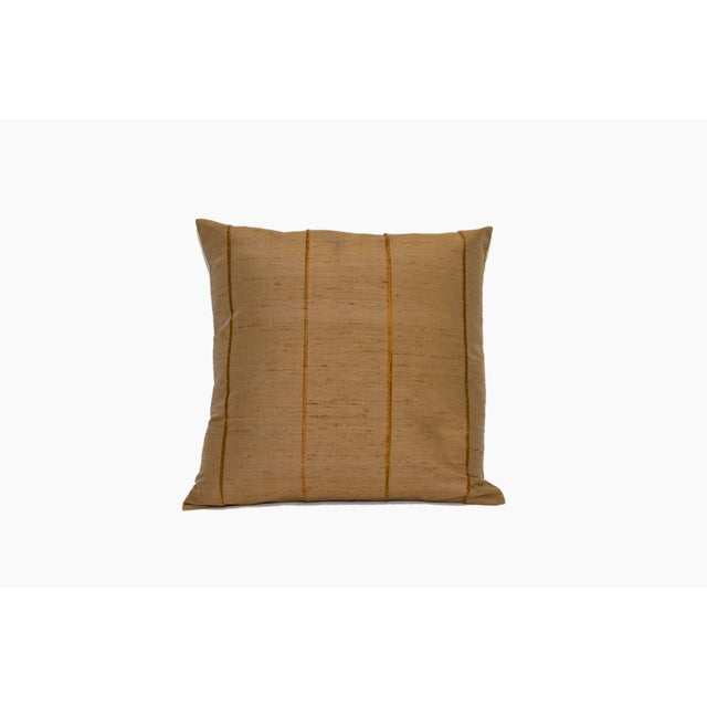Mocha Striped Raw Silk Square Pillow Cover - Image 2 of 4