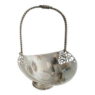 Vintage Silver 800 Continental Bridal Basket For Sale