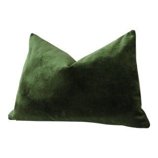 Dark Green Velvet Lumbar Pillow Cover 12x18 For Sale