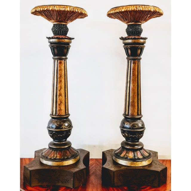 Brass Vintage John-Richard Associates Painted Weighted Large Candlesticks Jra 4809 - a Pair For Sale - Image 8 of 13