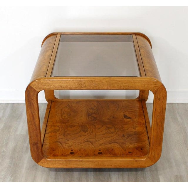 Mid Century Modern Pair Burlwood Coffee & Side End Table 1970s For Sale - Image 11 of 13