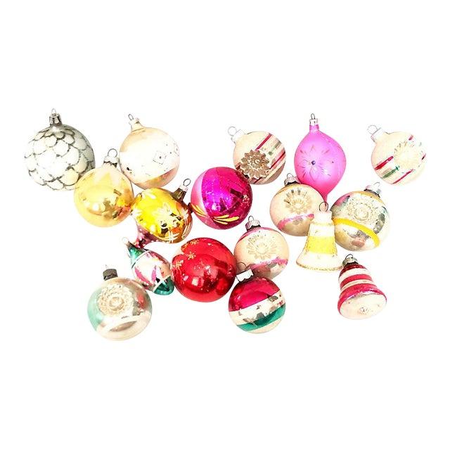 1960s Vintage Glass Ornaments - Set of 17 For Sale