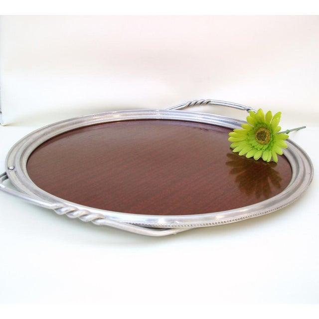 Aluminum & Faux Wood Bar Tray Serving Platter - Image 5 of 7