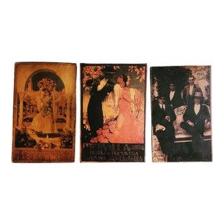 Vintage Sevilla Travel Posters, Wood Backed - Set of 3 For Sale