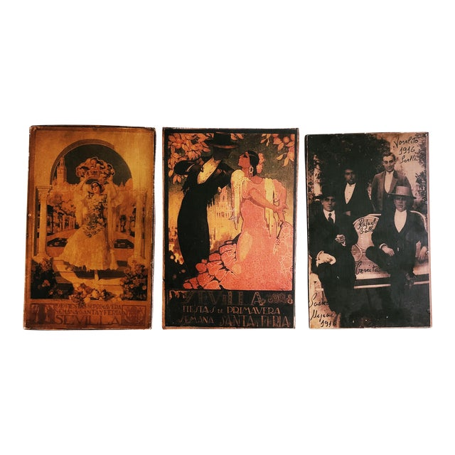 Vintage Sevilla Travel Posters, Wood Backed - Set of 3 For Sale