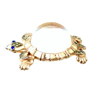 1940s Trifari Sterling Vermeil, Lucite & Crystal Jelly Belly Turtle Brooch For Sale