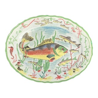 "20"" Italian Hand Painted Ocean Fish Ceramic Platter / Wall Plate For Sale"